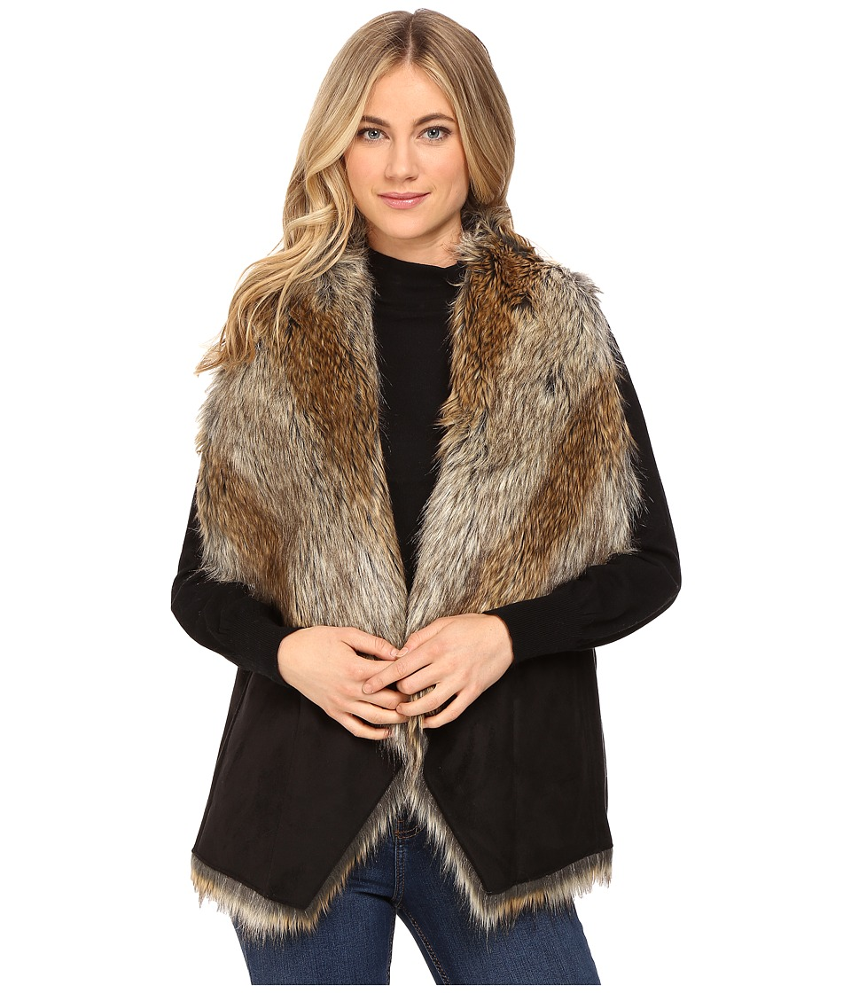 Marc New York by Andrew Marc - Sedona 25 Faux Racoon Vest (Black/Natural) Women's Vest