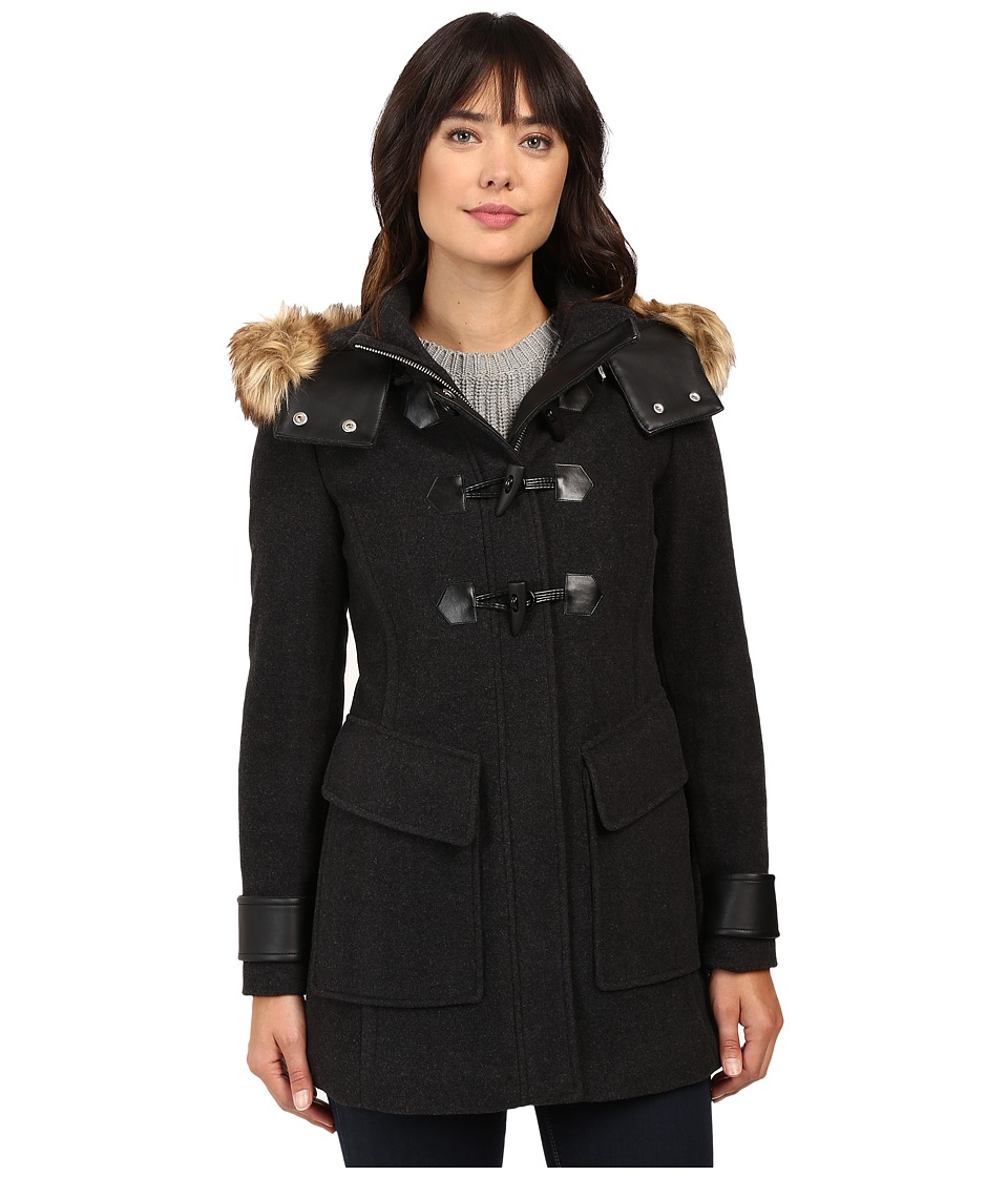 Marc New York by Andrew Marc - Paxton 30 Wool Plush Toggle Faux Fur Coat (Charcoal) Women's Coat
