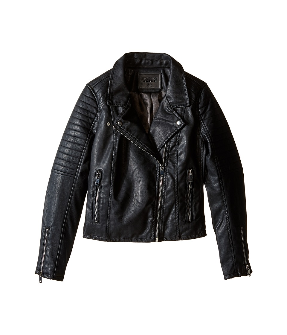 Blank NYC Kids - Vegan Leather Moto Jacket in Black Cat (Big Kids) (Black) Girl's Coat