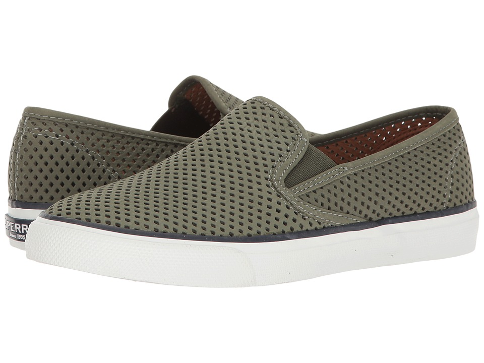 Sperry - Seaside Perforated (Olive) Women's Slip on Shoes