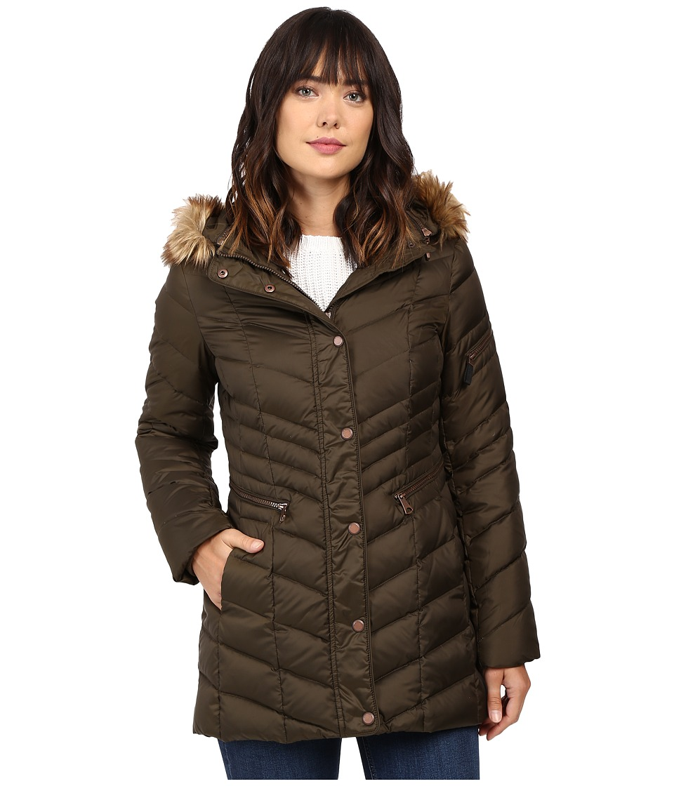 Marc New York by Andrew Marc - Renee Chevron Down Coat (Dark Olive) Women's Coat