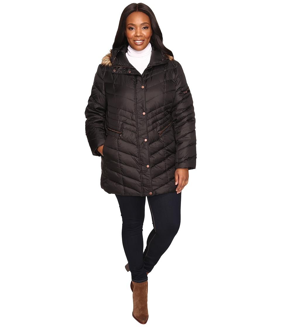 Marc New York by Andrew Marc - Plus Size Renee Chevron Down Coat (Black) Women's Coat