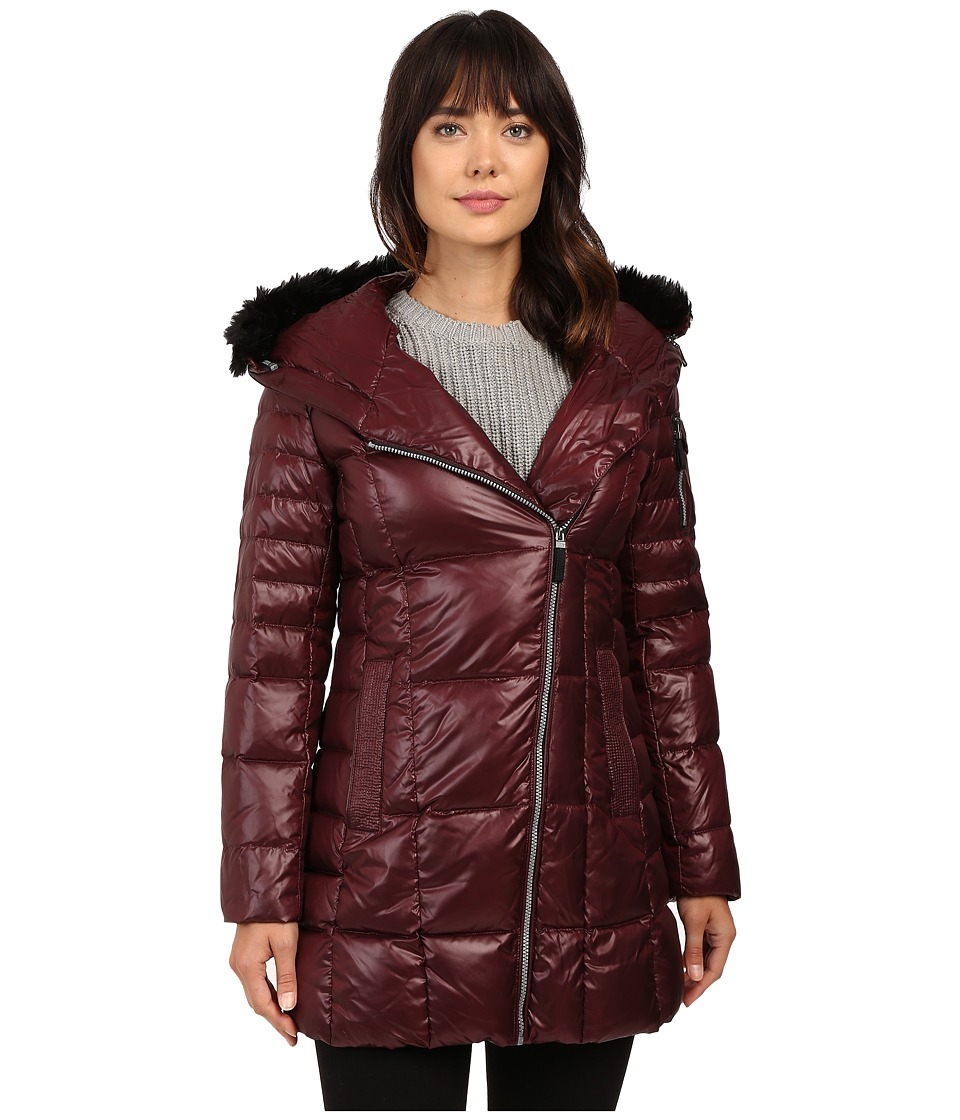 Marc New York by Andrew Marc - Jillian 32 Laquer Puffer Faux Fur Coat (Burgundy) Women's Coat