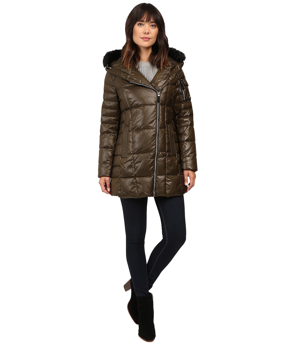 Marc New York by Andrew Marc - Jillian 32 Laquer Puffer Faux Fur Coat (Dark Olive) Women's Coat