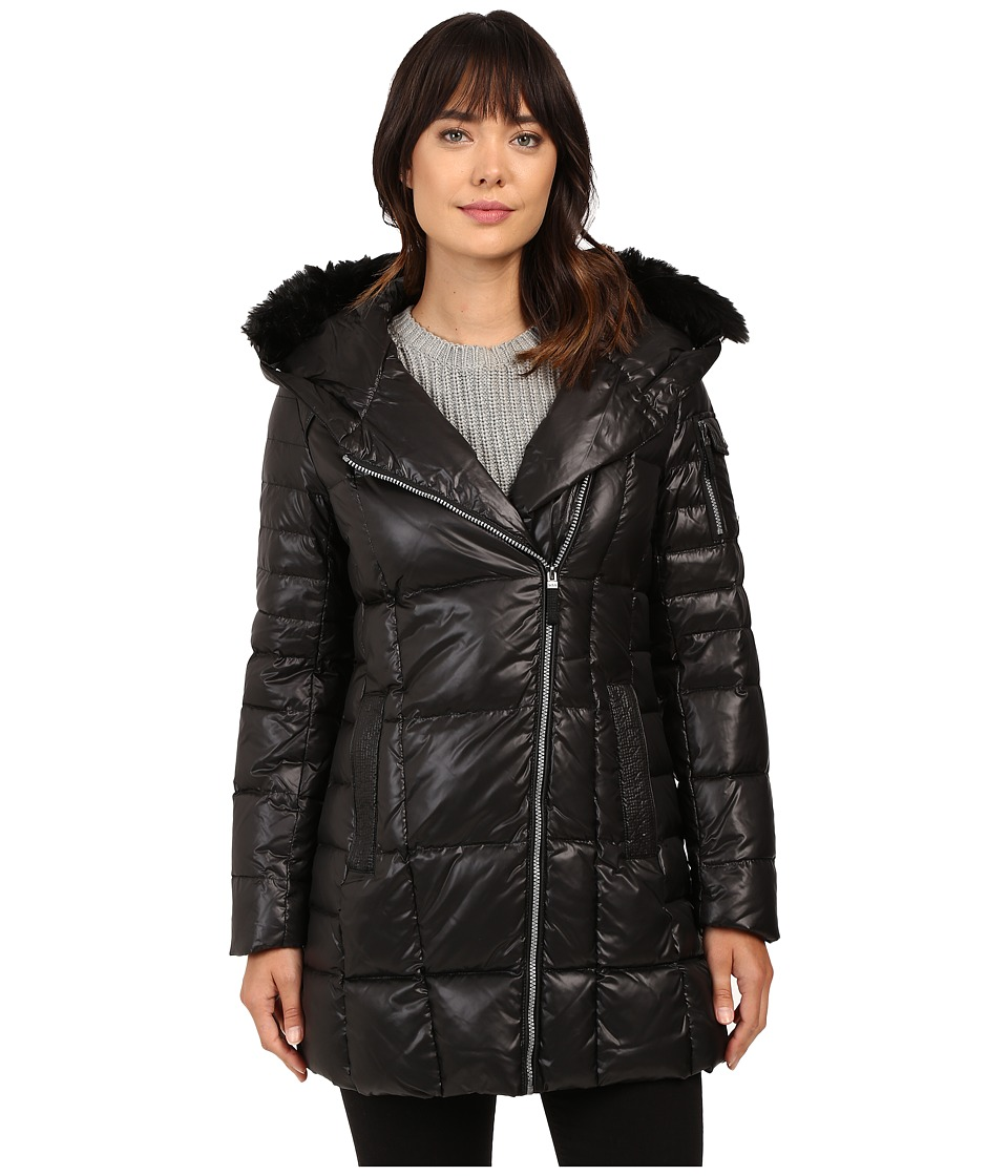 Marc New York by Andrew Marc - Jillian 32 Laquer Puffer Faux Fur Coat (Black) Women's Coat