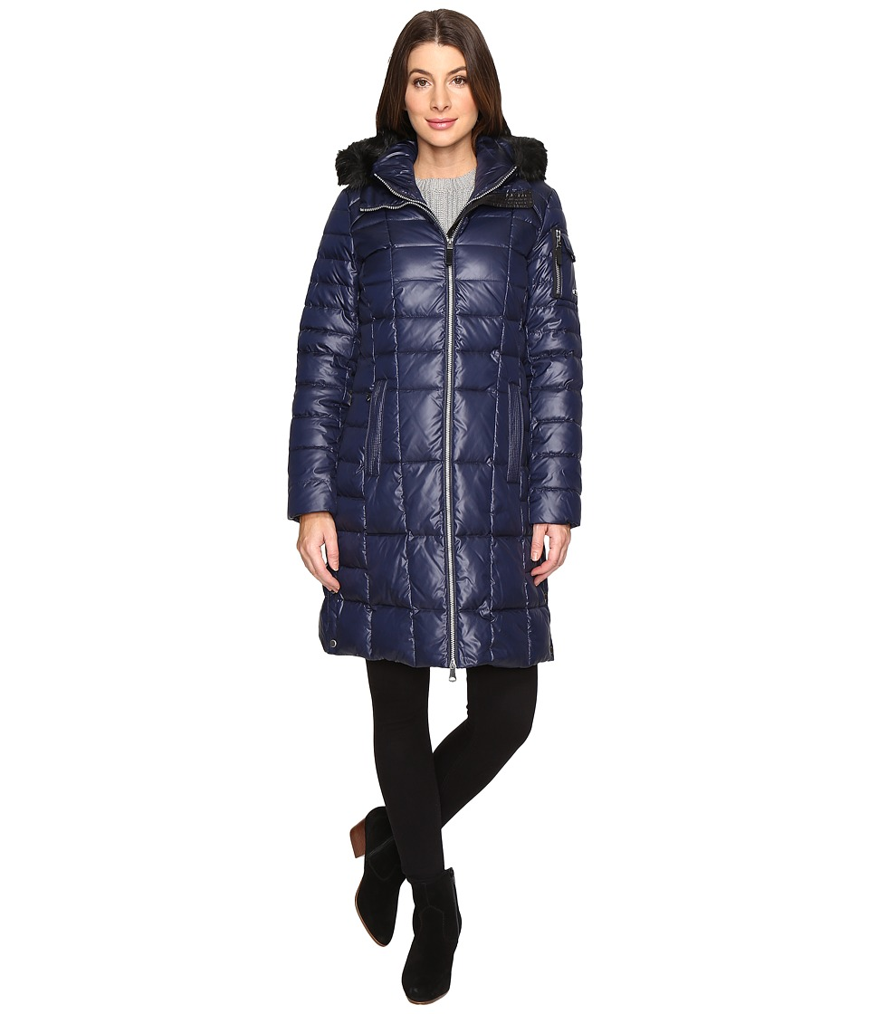 Marc New York by Andrew Marc - Julia 37 Laquer Puffer Faux Fur Coat (Navy) Women's Coat