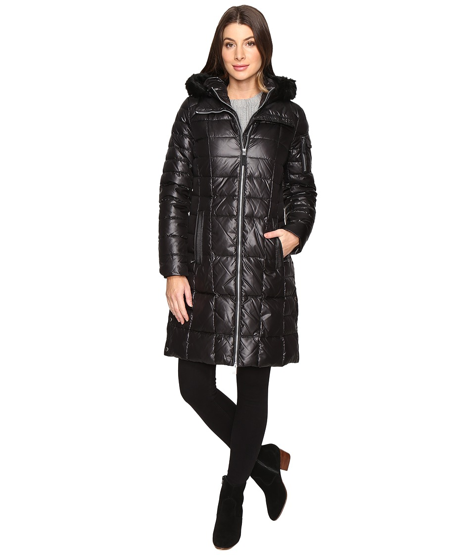 Marc New York by Andrew Marc - Julia 37 Laquer Puffer Faux Fur Coat (Black) Women's Coat