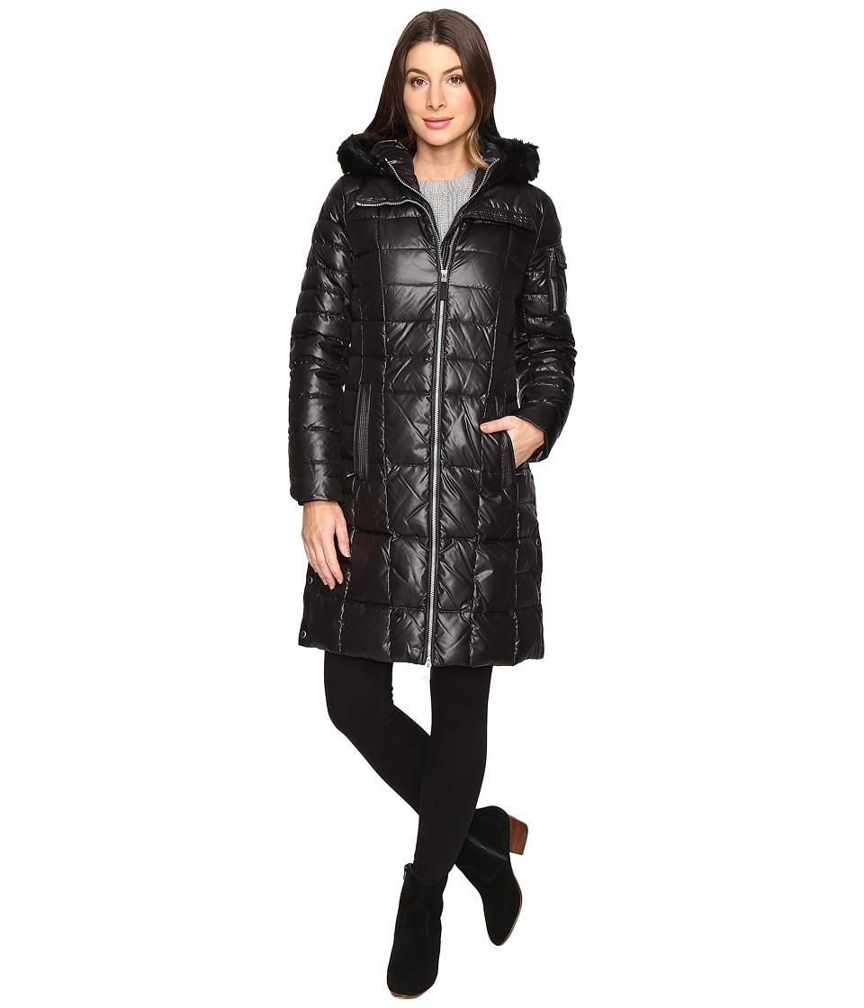 Marc New York by Andrew Marc - Julia 37 Laquer Puffer Faux Fur Coat (Black) Women's Coat