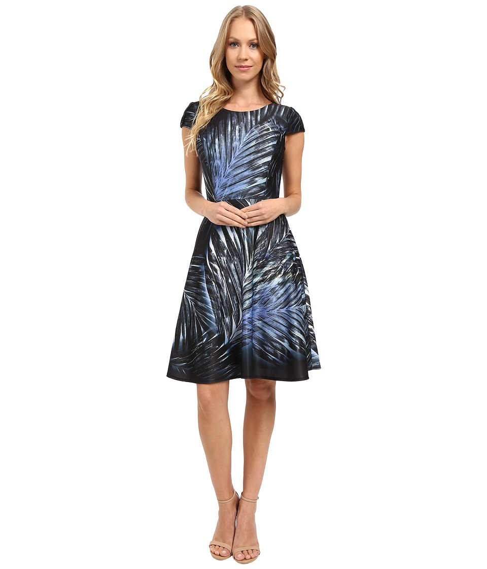 Tahari by ASL - Scuba Palm Frond Print Fit and Flare Dress (Black/Sky) Women's Dress