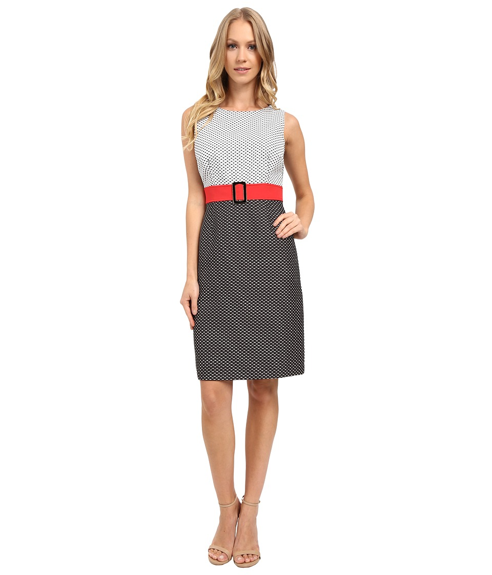 Tahari by ASL - Two-Tone Plaid Fit and Flare Dress w/ Statement Belt (Black/White) Women's Dress