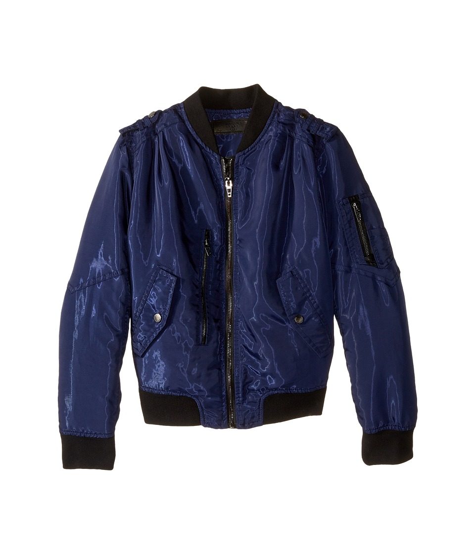 Blank NYC Kids - Bomber Jacket w/ Zipper Pockets in Mechanic (Big Kids) (Blue) Girl's Coat