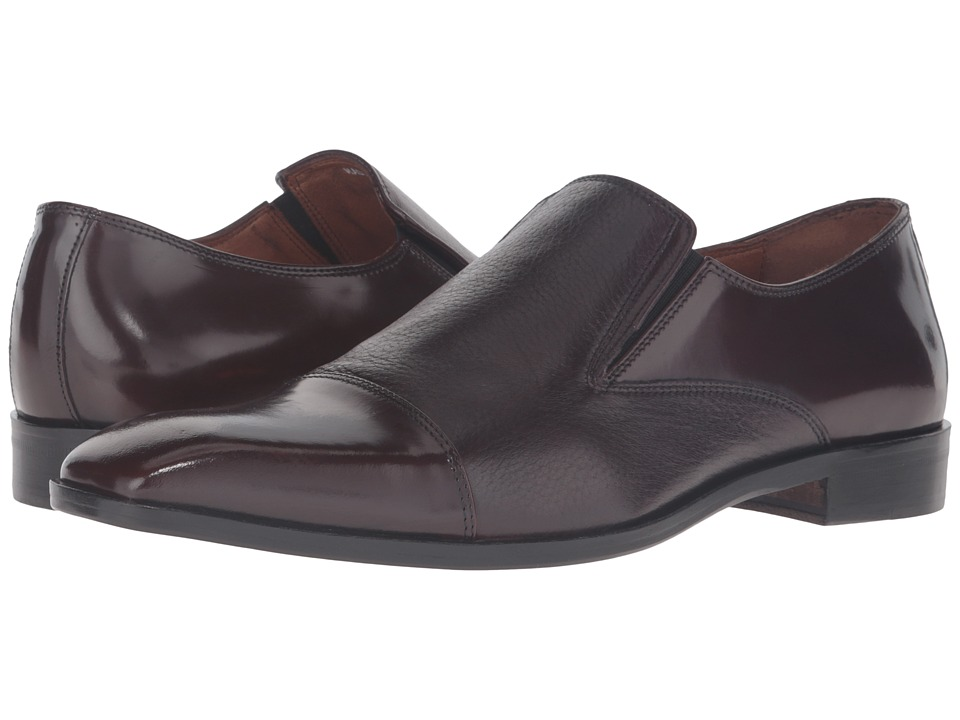 Massimo Matteo - Deer Lea Cap Toe (Bordo) Men's Slip on Shoes