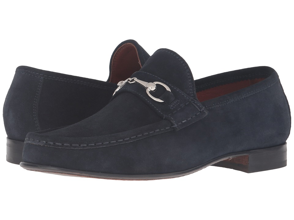Massimo Matteo - Hand Sewn Moccasin with Bit (Navy Suede) Men's Slip on Shoes