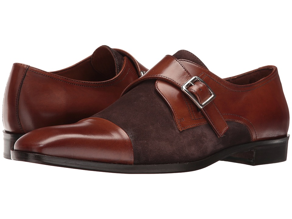 Massimo Matteo - Suede/Leather Monk (Castagna) Men's Shoes