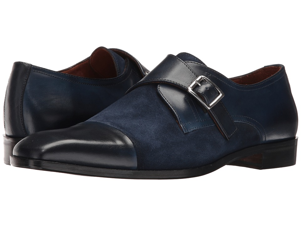 Massimo Matteo - Suede/Leather Monk (Navy) Men's Shoes