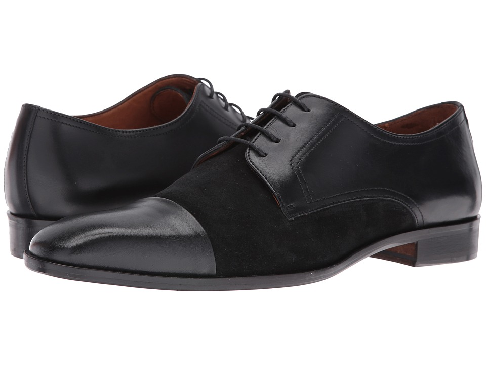 Massimo Matteo - Leather/Suede 4I Blucher (Black) Men's Shoes