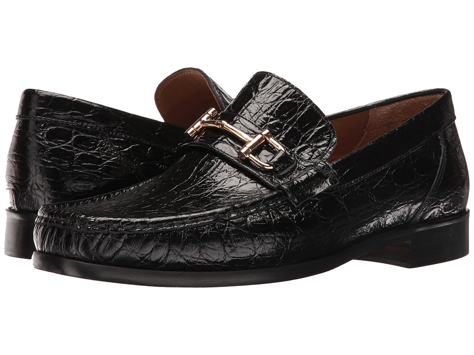 Massimo Matteo - Croco Bit Moccasin (Black) Men's Shoes