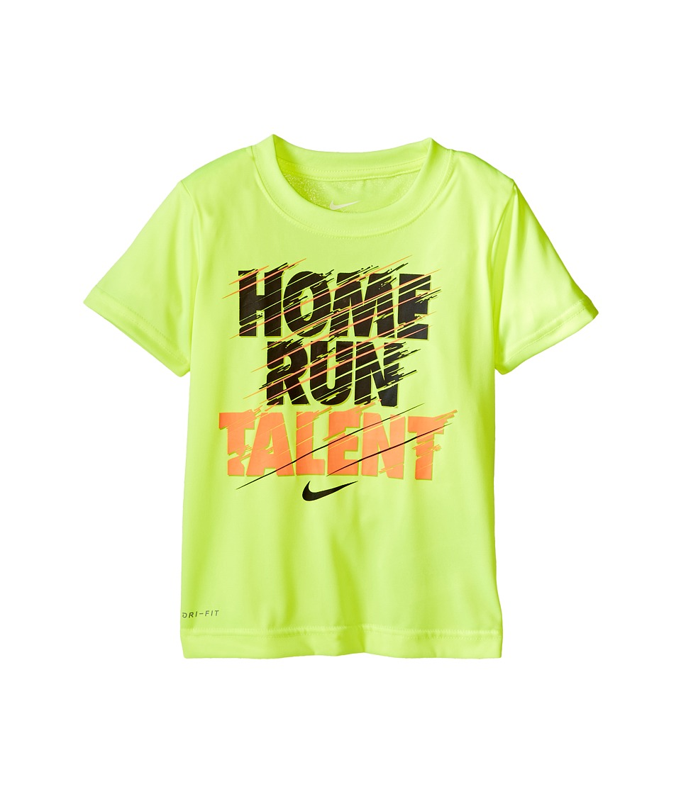 Nike Kids - Home Run Talent Dri-FIT Tee (Toddler) (Volt) Boy's Clothing