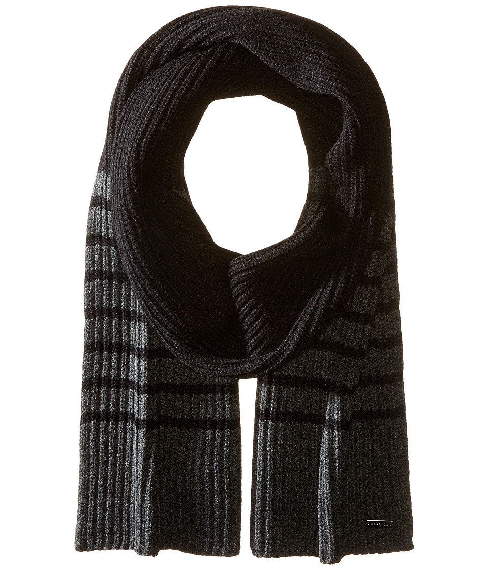 MICHAEL Michael Kors - Striped Full Cardigan Muffler (Black/Charcoal) Scarves