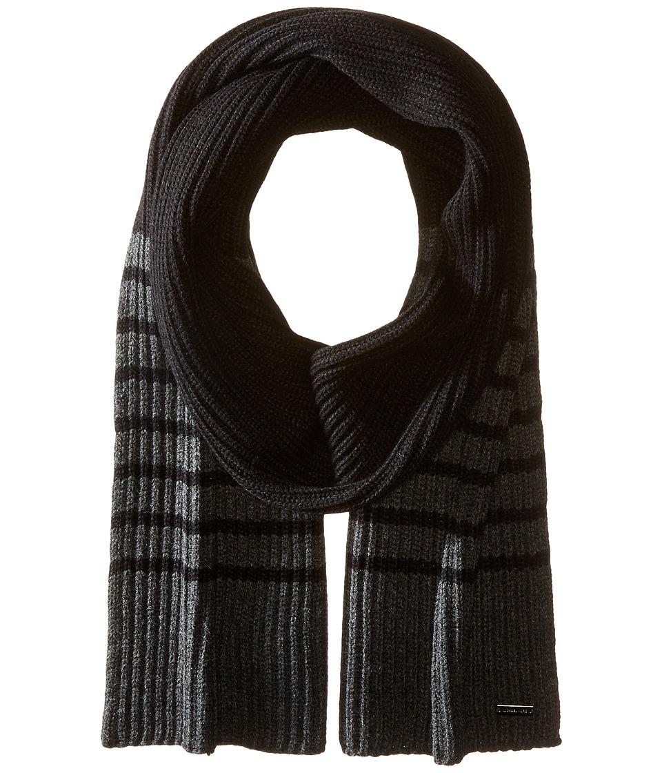 MICHAEL Michael Kors - Striped Full Cardigan Muffler (Black/Charcoal) Scarves