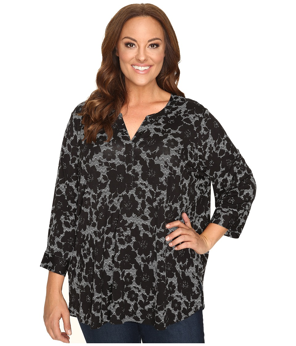 NYDJ Plus Size - Plus Size 3/4 Sleeve Knit Henley Top (Mod Floral Black) Women's Clothing