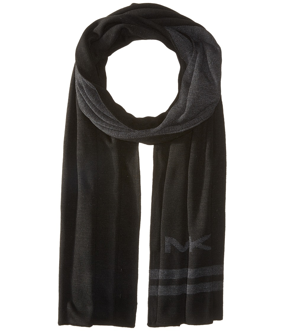 MICHAEL Michael Kors - Reversible Big MK Bottom Stripe Muffler (Black/Charcoal) Scarves