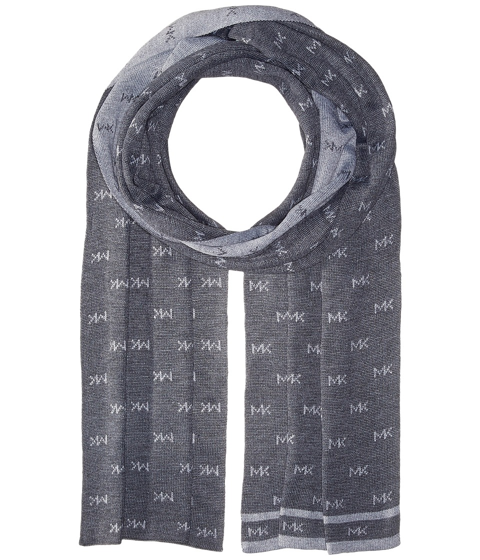 MICHAEL Michael Kors - Reversible MK Muffler with Edge Stripe (Ash/Heather) Scarves