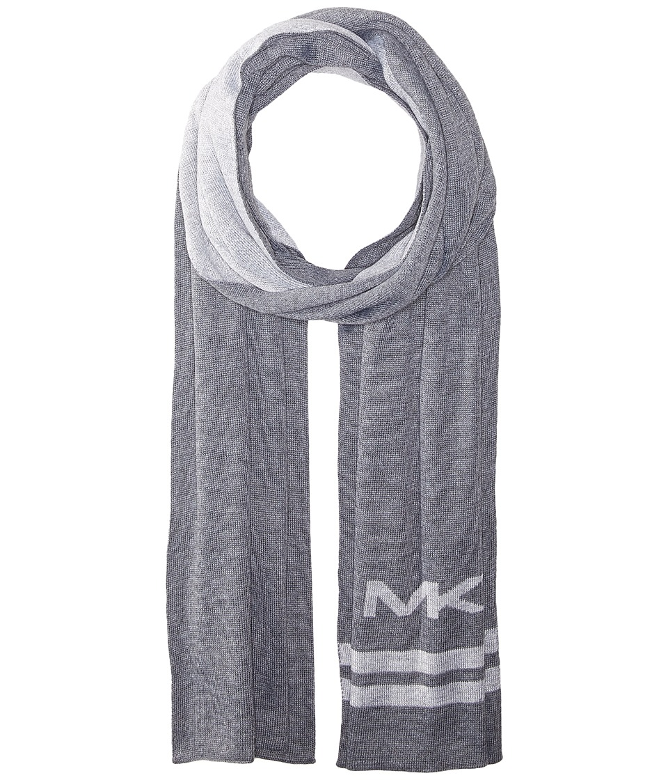 MICHAEL Michael Kors - Reversible Big MK Bottom Stripe Muffler (Ash/Heather) Scarves