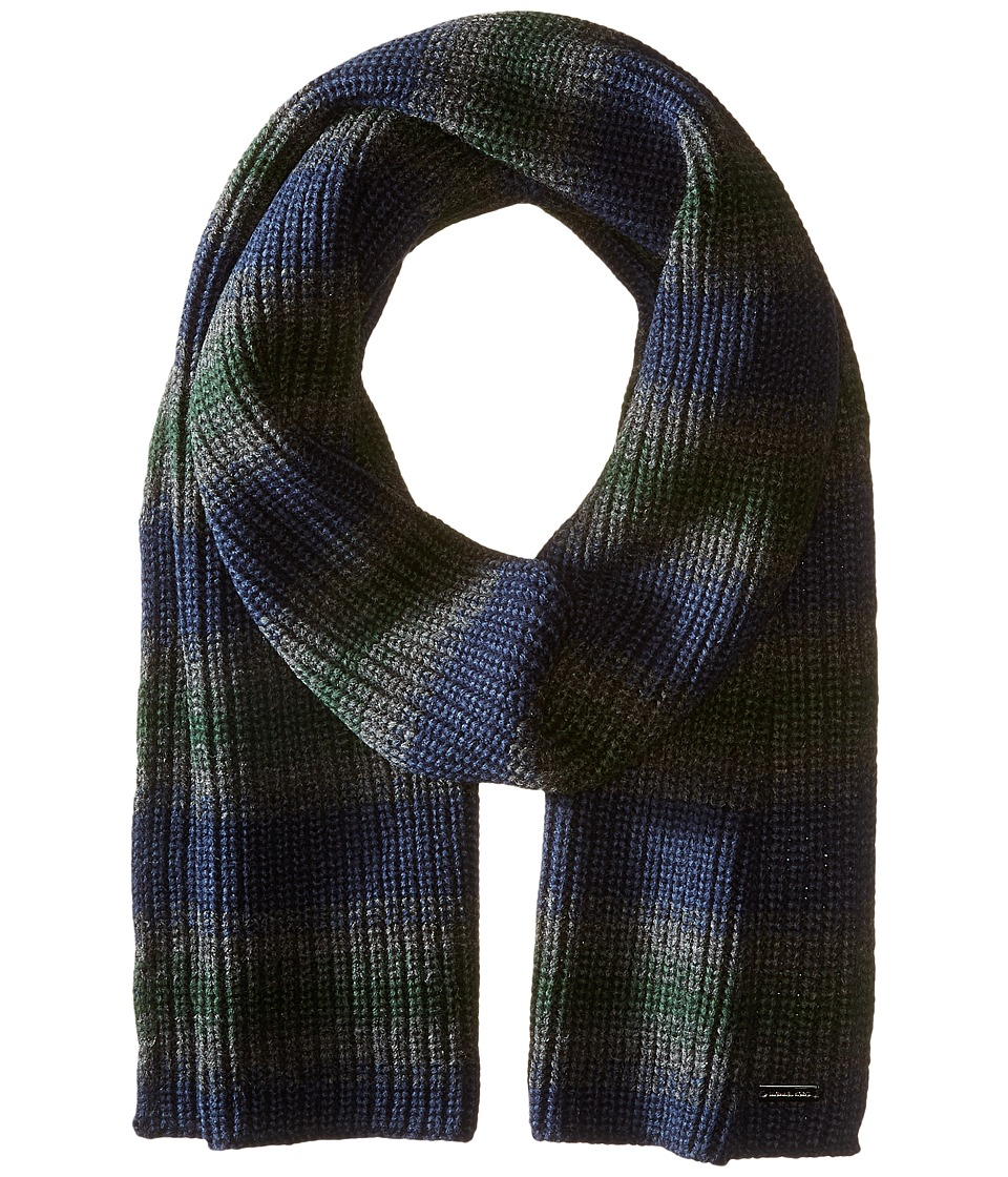 MICHAEL Michael Kors - Marl Stripe Muffler (Midnight/Charcoal/Pine) Scarves
