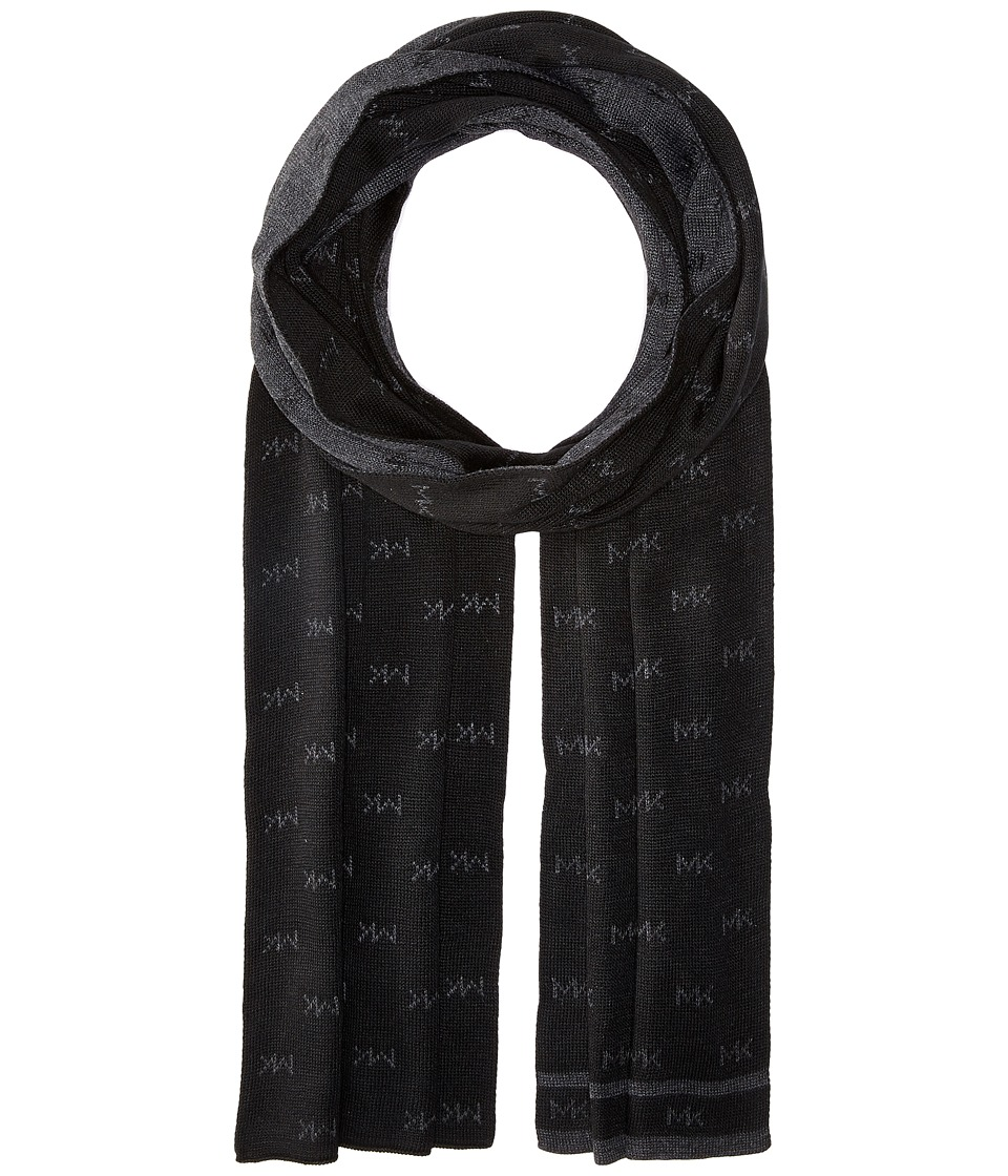 MICHAEL Michael Kors - Reversible MK Muffler with Edge Stripe (Black/Charcoal) Scarves