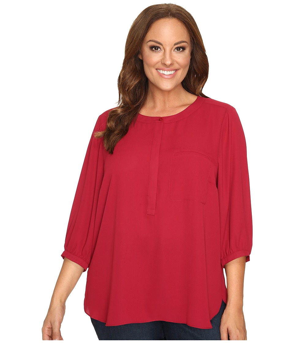 NYDJ Plus Size - Plus Size Solid 3/4 Sleeve Pleat Back (Carmine) Women's Long Sleeve Button Up