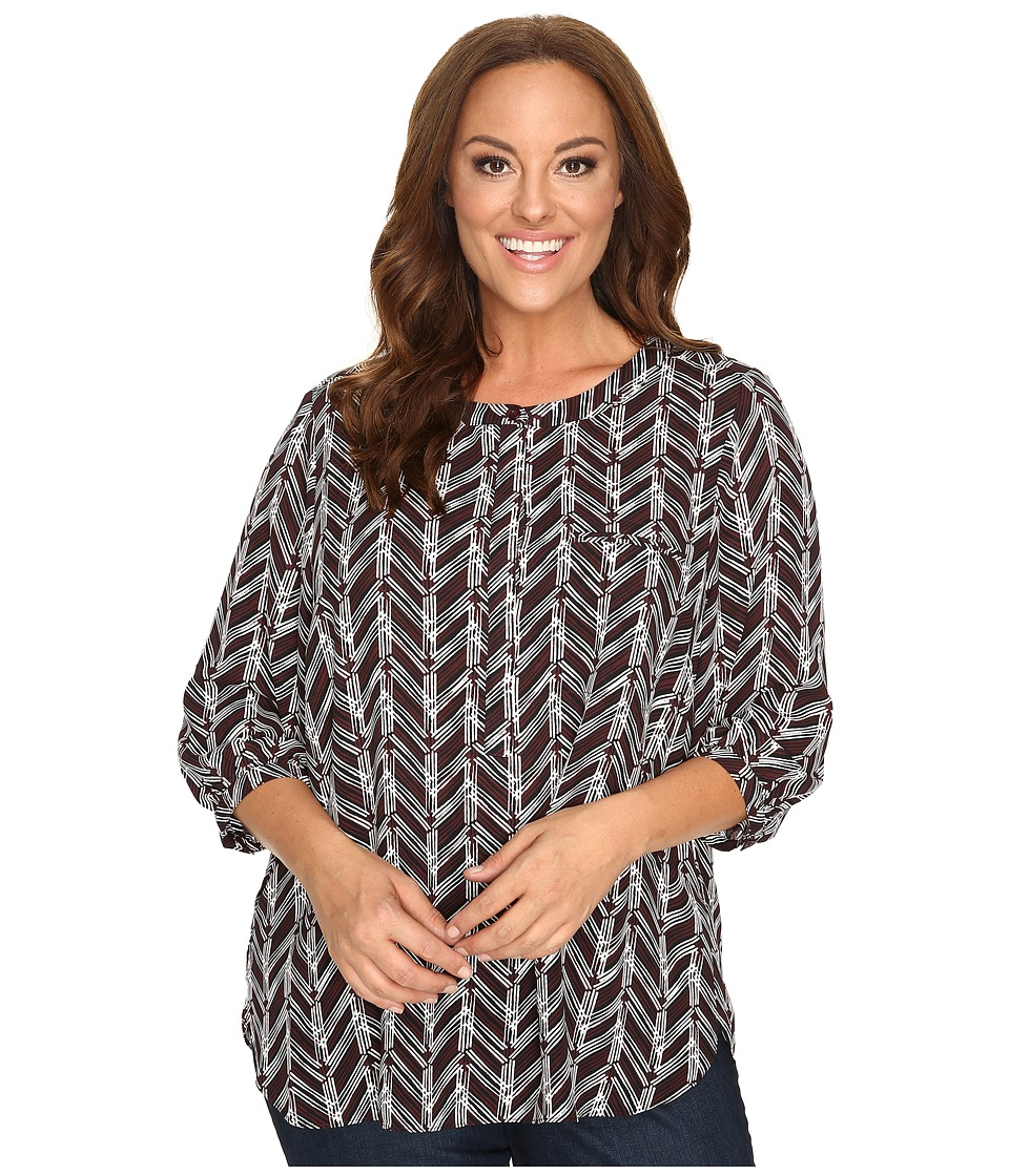 NYDJ Plus Size - Plus Size Solid 3/4 Sleeve Pleat Back (Birkin Chevron) Women's Long Sleeve Button Up