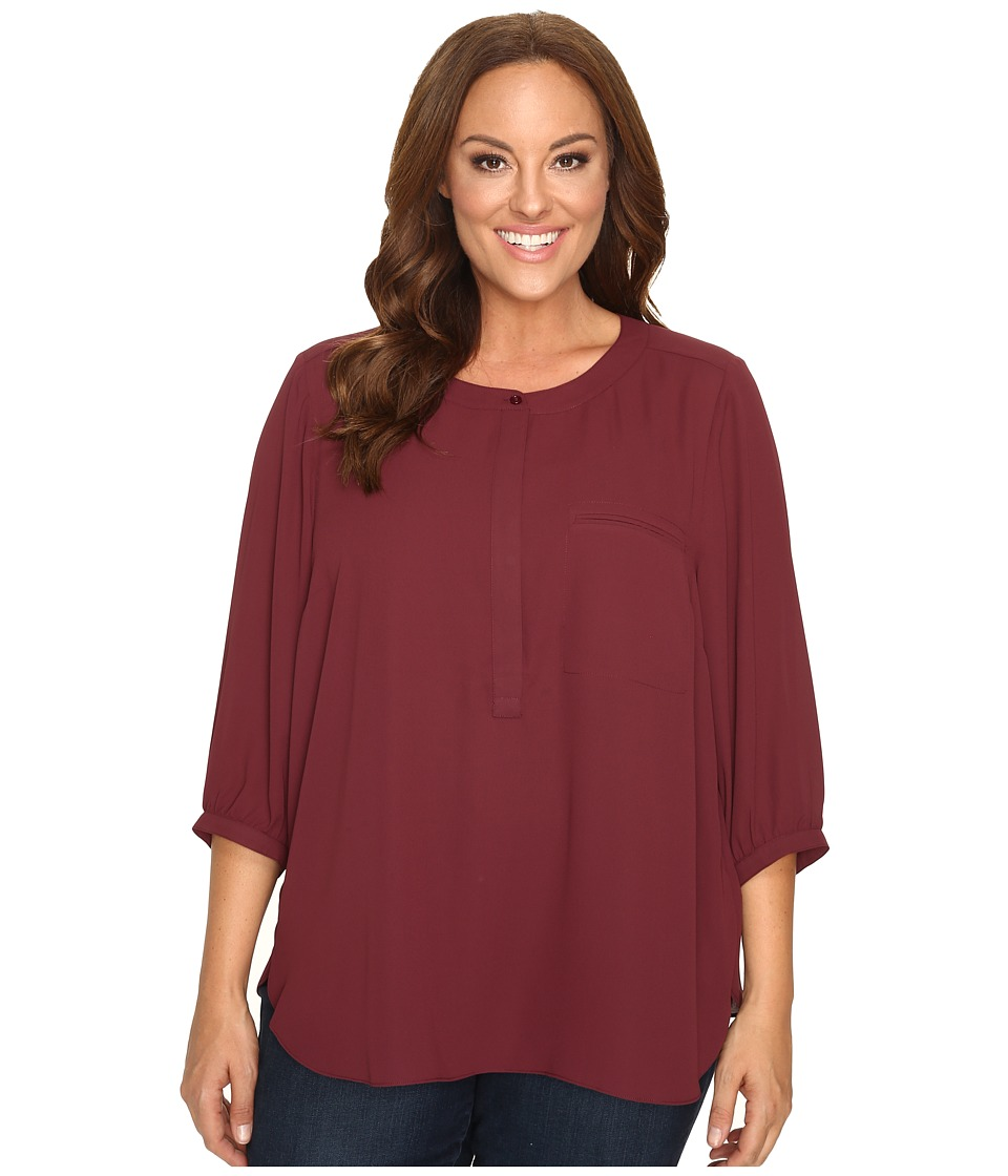NYDJ Plus Size - Plus Size Solid 3/4 Sleeve Pleat Back (Mahogany Wood) Women's Long Sleeve Button Up