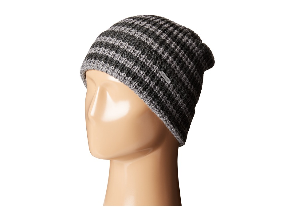 MICHAEL Michael Kors - Thermal Stripe Fold Up Cuff Hat (Charcoal/Ash) Beanies