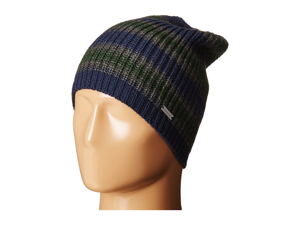 MICHAEL Michael Kors - Marl Stripe Slouchy Beanie (Midnight/Charcoal/Pine) Beanies