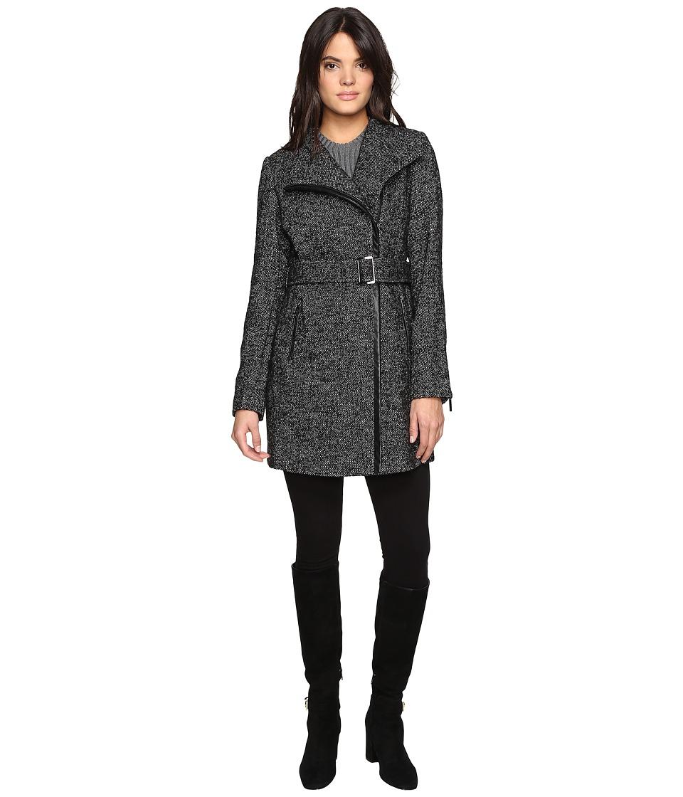 MICHAEL Michael Kors - Asymetric Wool Tweed M222308T (Black/White) Women's Coat