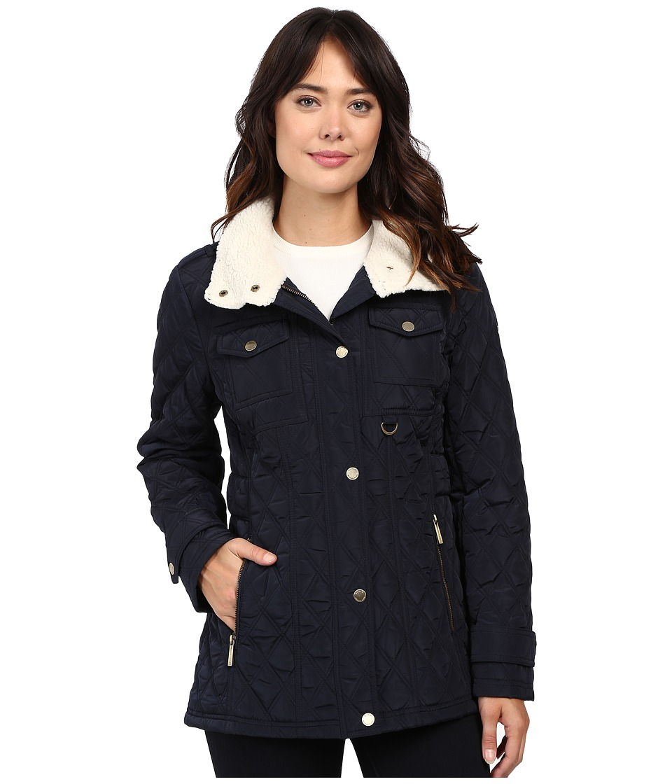 MICHAEL Michael Kors - Quilt w/ Faux Shearling in Collar M421977T (Navy) Women's Coat
