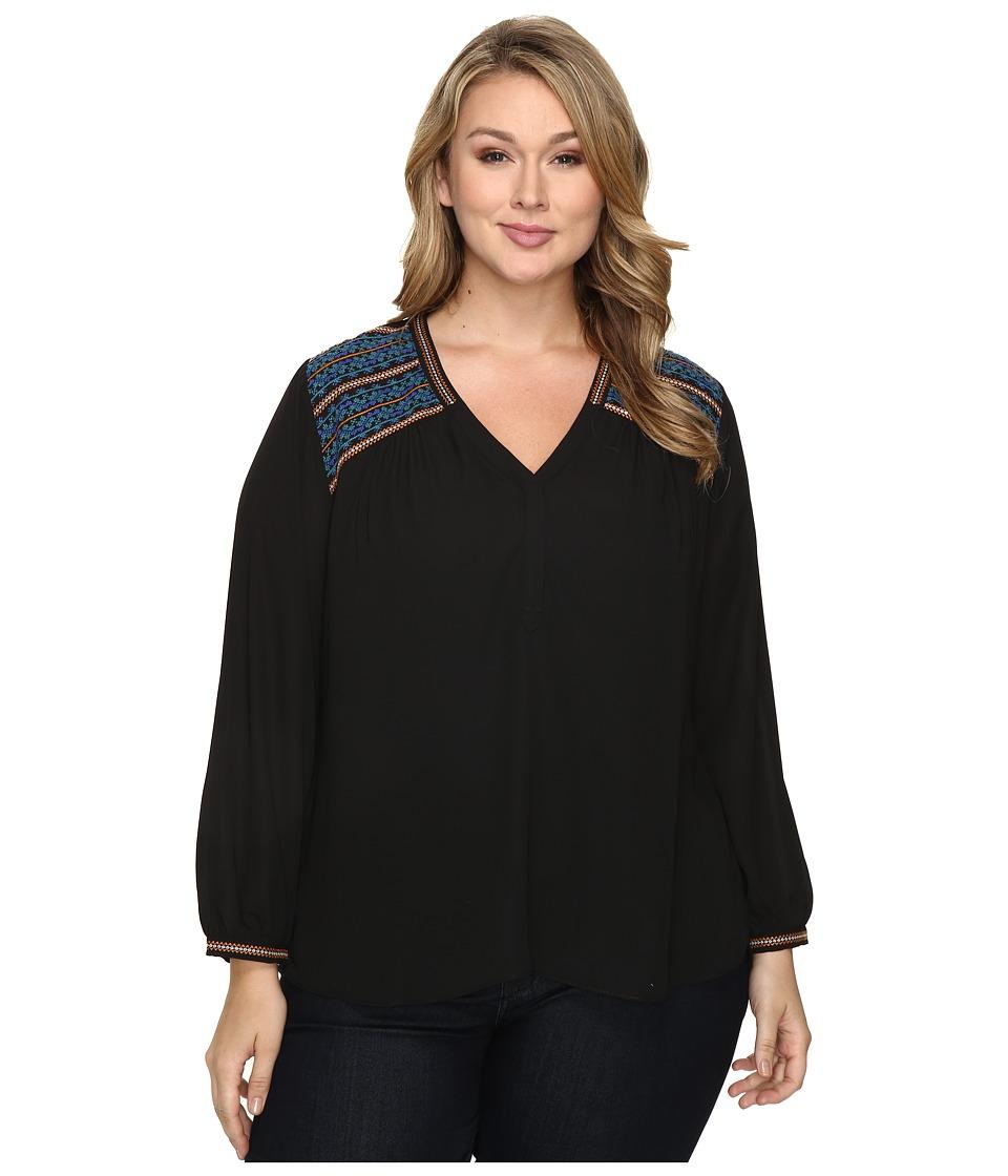 NYDJ Plus Size - Plus Size Embroidered Blouse (Black) Women's Blouse