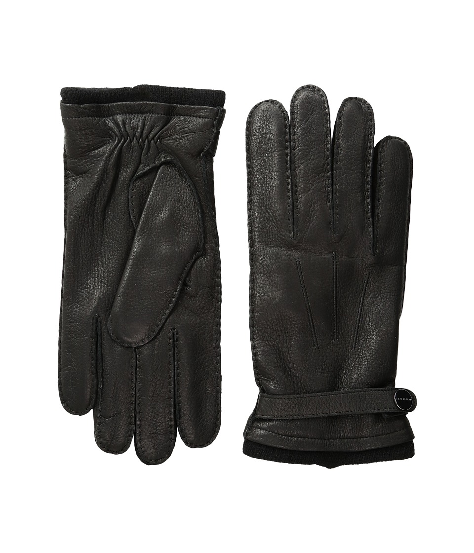 MICHAEL Michael Kors - Leather Gloves w/ Handsewn Belt and Snap Detail (Black) Extreme Cold Weather Gloves