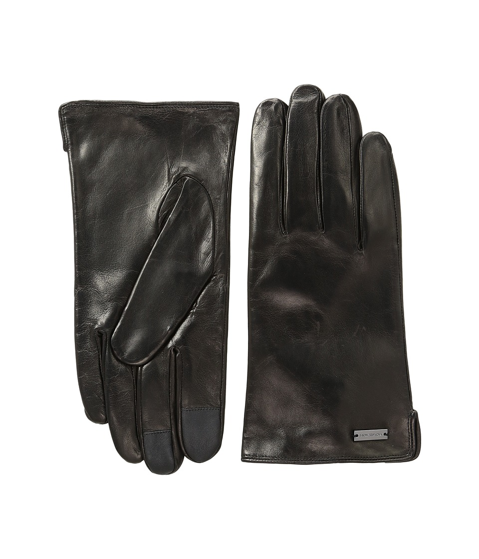 MICHAEL Michael Kors - Deerskin Leather Gloves w/ Three Points and Handsewn Deer Suede Back (Black) Extreme Cold Weather Gloves