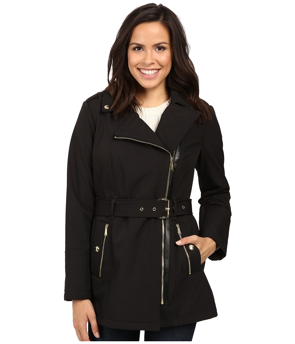 MICHAEL Michael Kors - Asymmetric Zip Softshell M521173T (Black) Women's Coat