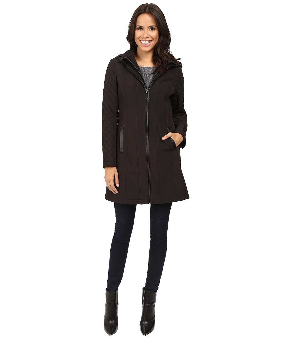 MICHAEL Michael Kors - Zip Front Softshell with Hood and Quilted Sleeves M522320T (Black) Women's Coat
