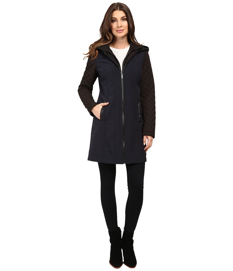MICHAEL Michael Kors - Zip Front Softshell with Hood and Quilted Sleeves M522320T (New Navy) Women's Coat