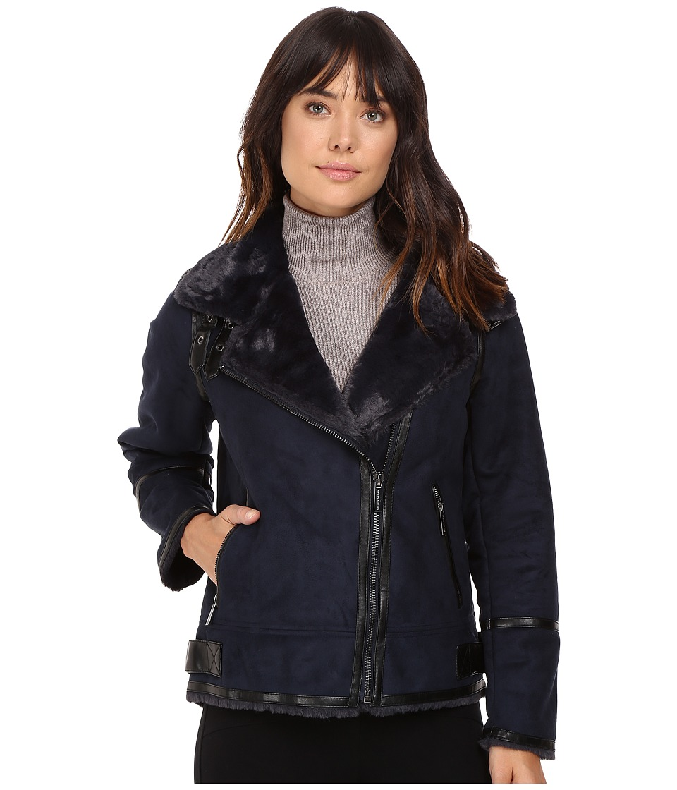MICHAEL Michael Kors - Faux Shearling M52731T (Navy) Women's Coat