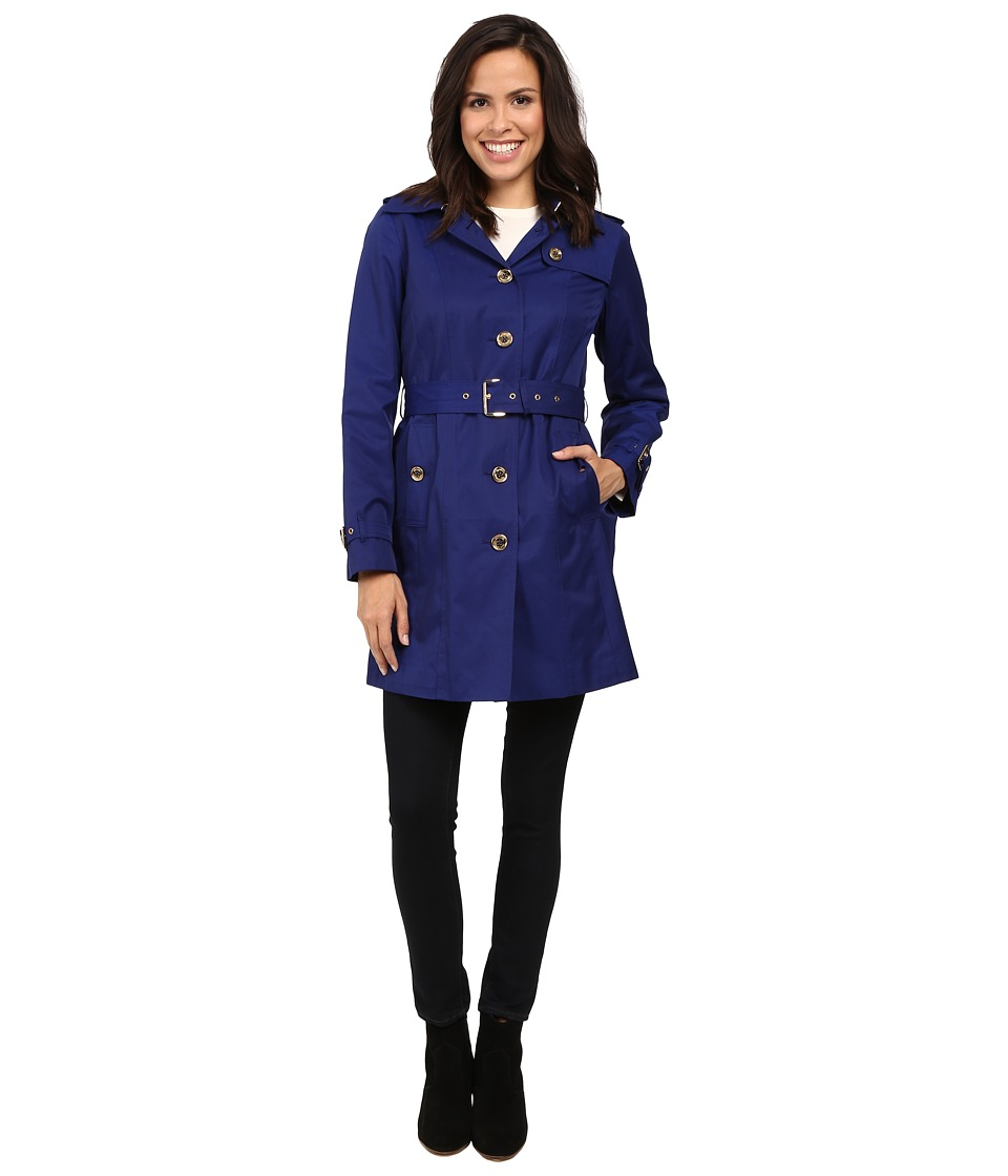 MICHAEL Michael Kors - Single-Breasted Belted Trench M721911L74 (Sapphire) Women's Coat