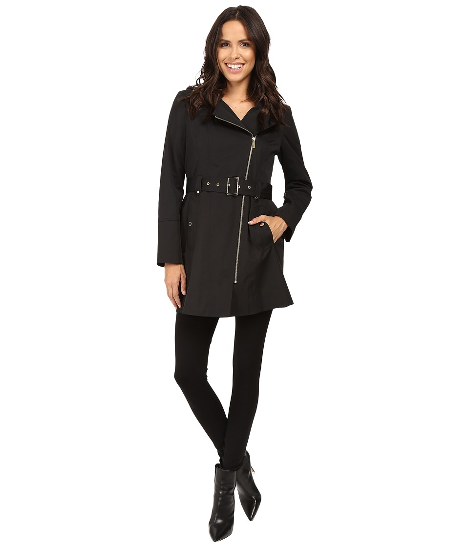 MICHAEL Michael Kors - Asymmetric Zip Front Belted Trench M722395T (Black) Women's Coat