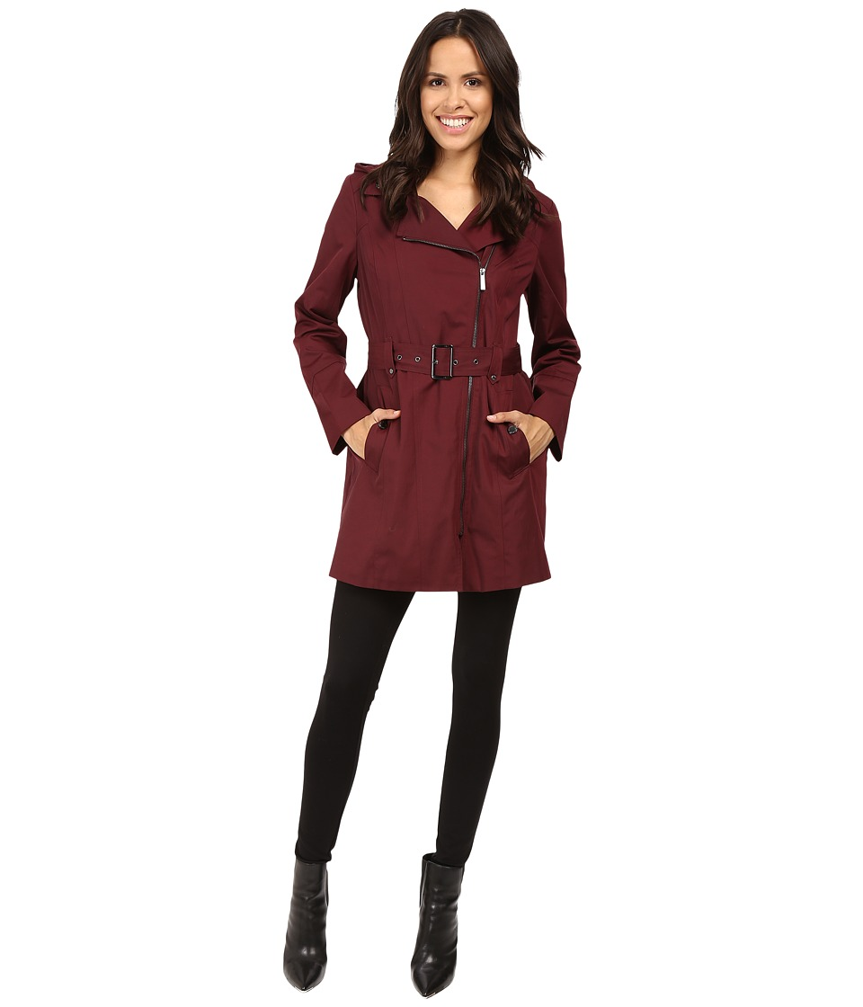 MICHAEL Michael Kors - Asymmetric Zip Front Belted Trench M722395T (Burgundy) Women's Coat