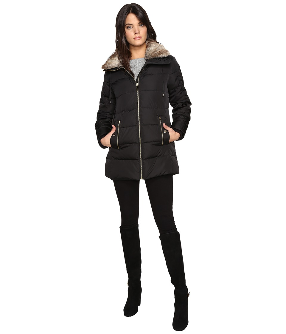 MICHAEL Michael Kors - Zip Front Faux Fur Collar Down M821319T (Black) Women's Coat