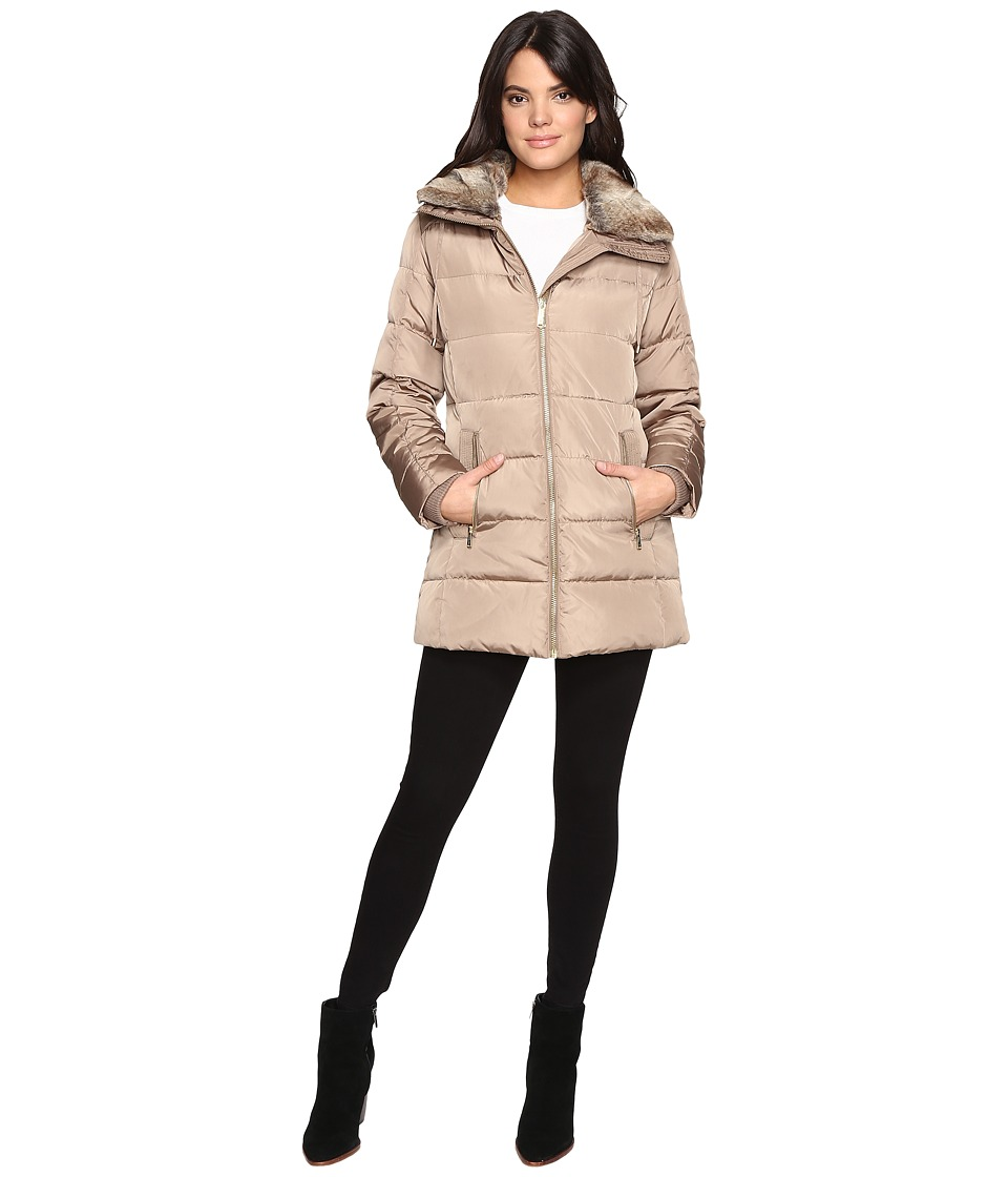 MICHAEL Michael Kors - Zip Front Faux Fur Collar Down M821319T (Truffle) Women's Coat