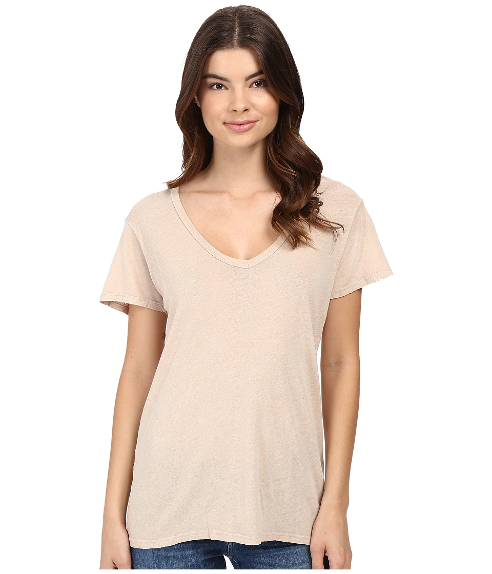 Project Social T - Cotton Linen V (Tan) Women's Short Sleeve Pullover